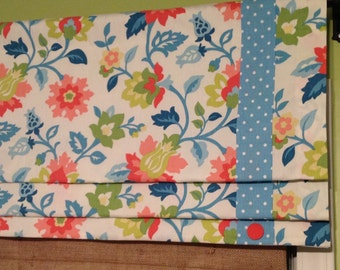 Made To Order......Mock Lined Roman Shade with Polka Dot Banding & Button Detail.