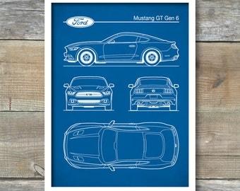 Auto Art, Patent Print, Car Art, Ford Mustang Gen 6 Blueprint, Ford Mustang Poster, Ford Mustang  Art, Ford Mustang Decor, P454