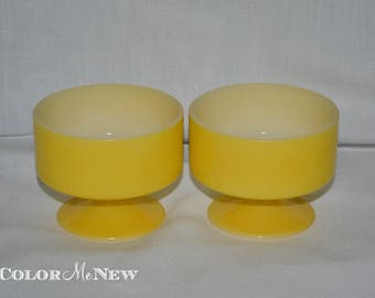 Vintage Set of 2 Yellow Federal Footed Dessert Bowls with White Interior