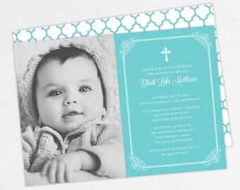 Photo Baptism Invitation, Christening Invitation, Boy Baptism Invitation, Printable Baptism Invitation, Invite PDF, Modern, Blue, Elliott