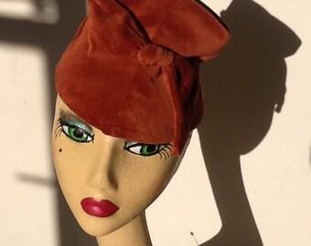 Hand crafted 1930s velvet tilt hat