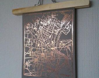 A4 Rose Gold Belfast Map Print on Soft Grey