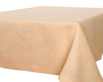 Yellow Linen Tablecloth, Cream Linen table top, Linen table cover, Natural Linen Tablecloth, Flax Tablecloth, European Linen Flax Cloth