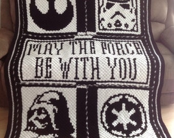 Handmade May The Force Be With You Star Wars Crochet Blanket