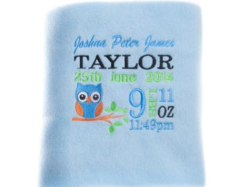 Personalised Baby Blanket Fleece Embroidered Christening Newborn Gift Boy