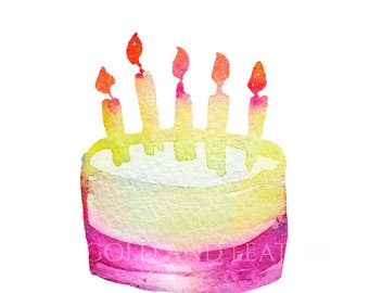 Pink Cake Design Birthday Clip Art Instant Download High Resolution for Cards Invites etc