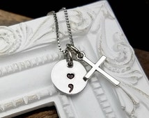 ON SALE Semicolon Necklace with Cross - Semicolon Jewelry - Semicolon Symbol Necklace - Suicide Memorial - Awareness - Loss - Memorial Jewel