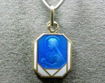 French, Antique Religious Sterling Blue Enamel Pendant. Sainte Bernadette Soubirous. Art Deco. Silver Medal.