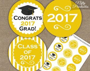 Yellow Graduation Cupcake Toppers - Printable 2017 Graduation Decorations - Yellow White Class of 2017 Graduation Party Printable
