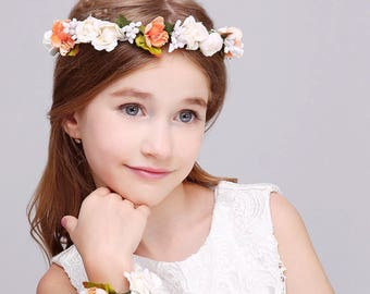 Orange Peach White 2 PC/Set Girl Flower Wreath Crown Floral Headband Garland Wristband Wedding