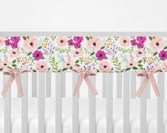 Crib Rail Guard. Pink Purple Floral. Bumperless Crib Bedding. Crib Rail Cover. Floral Rail Guard. Pink Rail Guard.