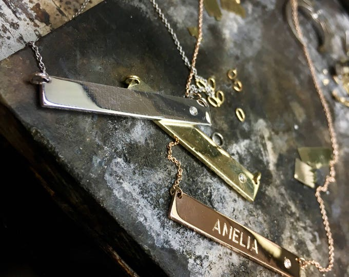 Bar Necklace with Diamond Accent in 14k Gold