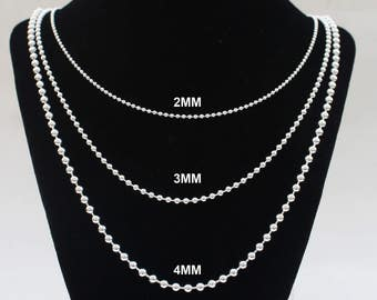 Mens Silver Chain Ball Chain 14 16 18 20 22 24 30 36 inch chain 2MM 3MM 4MM Solid Sterling Silver Womens Chain Necklace Dog Tag Chain