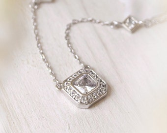 Swarovski Silver Wedding Jewelry Bridal Necklaces Silver Bridal Accessories Jewelry for Bride Silver Crystal Jewelry Necklace N329S