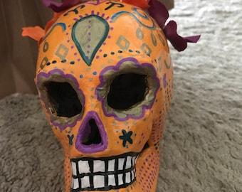 "Hand-painted paper mache sugar skull ""cream-sick-le"""