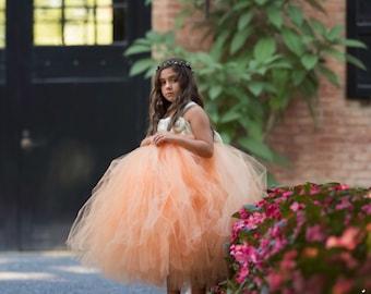 Peach Flower Girl Dress, Peach Tutu Dress, Peach Tulle Dress, Peach Dress, Peach Wedding, Peach