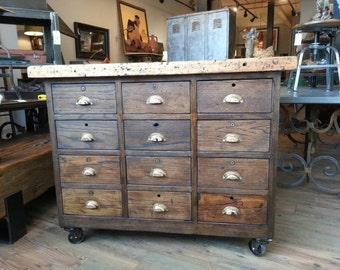 Vintage industrial oak workshop cabinet with maple top