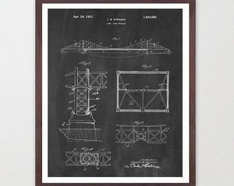 Golden Gate Bridge Patent - Golden Gate Bridge Poster - San Francisco Art - Architect - San Francisco Wall Art - Architectural Art - Design