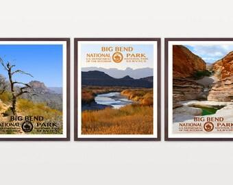 Big Bend National Park - Big Bend Poster - Big Bend National Park Art - National Park Poster - WPA - WPA Poster - Texas - Rio Grande Art