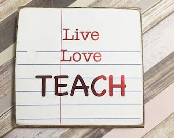 teacher wood sign, teachsign, teachers gift, inspirational sign, gift for teacher, school decor,  wall decor, mini wood block
