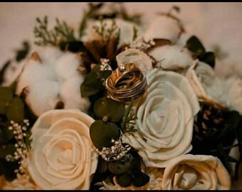 Wedding bouquet, Sola flower bouquet, Pine cone bouquet,  Cotton bouquet, Lace rose bouquet