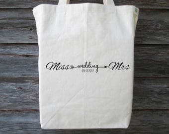 Bachelorette Party Tote, Wedding Tote Bag, Bride Tote, Bridal Shower Tote, Wedding Gift, Bride Gift, Recycled Cotton Canvas Tote