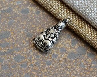 Sterling Silver Kuan Yin Pendant,Silver Quan Yin Pendant,Silver Female Buddha Charm,Goddess of Compassion,Hollow Charm,One Pendant,KP15-100