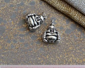 Sterling Silver Happy Buddha Charm,Silver Laughing Buddha Charm,Double Sided Chinese Buddha Charm,Lucky Buddha Charm,Budda,One Charm,KP15097
