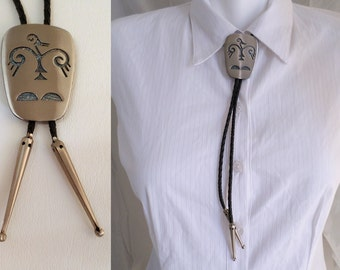 Bolo Tie, Silver Finish Thunderbird, Florenta of California, Southwestern Country Western Wear, Cowboy Necktie, ID 502856422