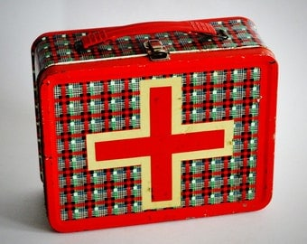 Vintage Plaid Metal Lunch Box with Red Cross
