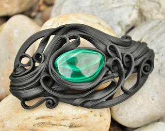 MALACHITE HAIR CLASP Green Jewel Jewellery Jewelry Original Hair Accessory Minerals Gems Fantasy Magic Magical Resin Modern Woman Handmade