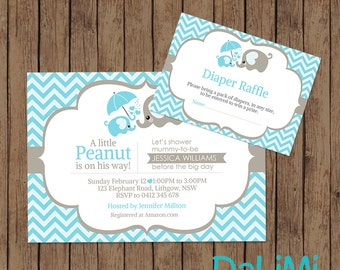 Elephant Baby Shower Invitation - Elephant Invitation - Bright invitation - Printable Invitation - Personalised - Digital File!