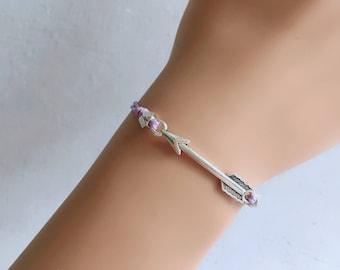Arrow bracelet, 18 colors cord, Adjustable Bracelet, , Simple Bracelet, gift idea,Purple bracelet,Wish bracelet,Friendship bracelet