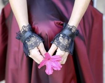 Pair Black Lace/Leather Wristt Cuffs, Leather Bracelet Cuffs, Gothic Jewelry, Ruff Cuffs Women Accessories