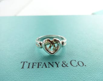 Authentic Tiffany & Co. Sterling Silver and 18K Gold Bow Heart Ring, 6.5