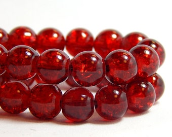 30 8mm Red Crackle Beads, Red Beads, Cranberry Red Beads, Red Crackle Beads, 8mm Beads, 8mm Red Beads, Christmas Beads, Dark Red Beads D-N11