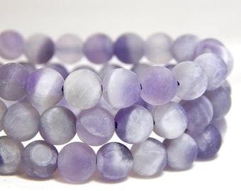 6mm Matte Dogtooth Amethyst, 6mm Matte Sage Amethyst, 6mm Matte Amethyst, Frosted Dogtooth Amethyst Beads, 6mm Matte Purple Beads, B-24A