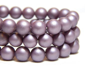 6mm Purple Shell Pearls, 6mm Purple Beads, 6mm Lilac Beads, Matte Purple Beads, Purple Beads, 6mm Shell Pearls, Frosted Beads, B-57A