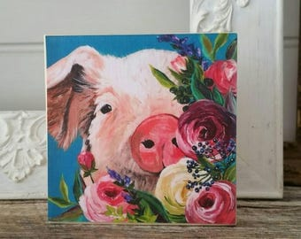 Floral pig artwork - PRINT of original painting on WOOD - farmhouse decor