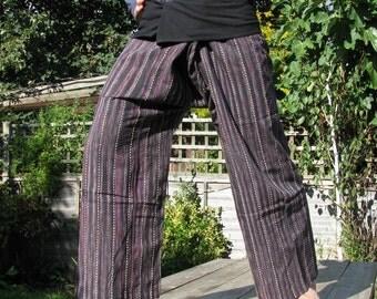 "Handwoven ""PURPLE EFFECT"" 100% cotton thai fisherman pants."