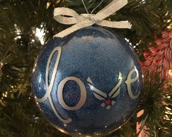 Air Force Love glitter ornament