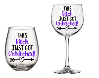 Unhitched Wine Glass