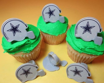 12 Dallas Cowboys Cupcake Rings NFL Football Toppers Party Favors