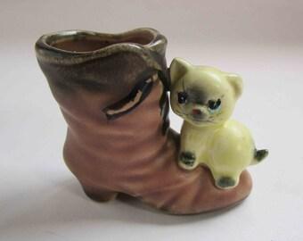 vintage 1950s ceramic cat of a boot, spill vase or match holder, vintage cat, vintage cat vase