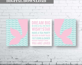 Mermaid Wall Art Print. Set of Three (3)-Instant Download. Mermaid Quote Art. Mermaid Bedroom Decor. Dream Big Mermaid. You are Loved Quote.