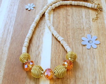 Wooden Necklace,  Beaded Necklace, Beads of Golden Grass, Swarovski Crystal Necklace, Handmade, Beaded Necklace Choker, Swarovski necklace