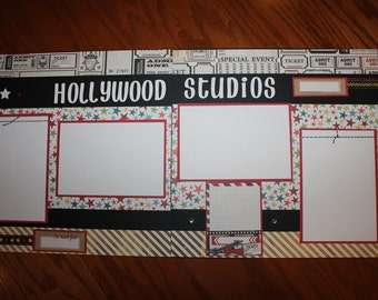 Disney 12 x 12 Hollywood Studios 12 x 12 premade scrapbook layout, premade Disney Hollywood Studios scrapbook layout, theme parks