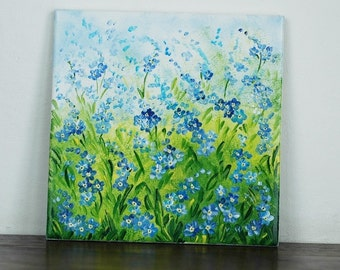 Hand-painted tile with forget me nots and cork backing
