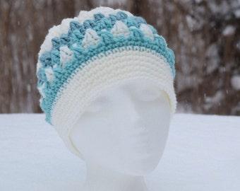 Crocheted hat - popcorn stitch; no brim/winter white & seafoam/mint