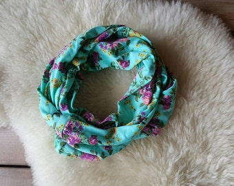 Mint Floral Youth Infinity Scarf, Eternity Scarf, Kid Scarf, Circle Scarf, Loop Scarf